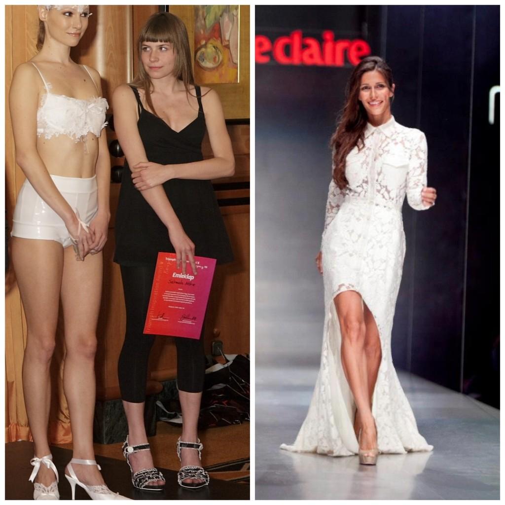 Sármán Nóri fehér csipke fehérneműje és Szekeres Nóra a Marie Claire Fashion Days színpadán